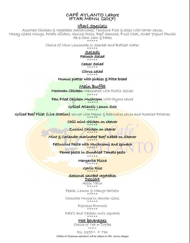 Cafe Aylanto Lahore Iftar Dinner Buffer Deal 2017 | WhatsOnSale