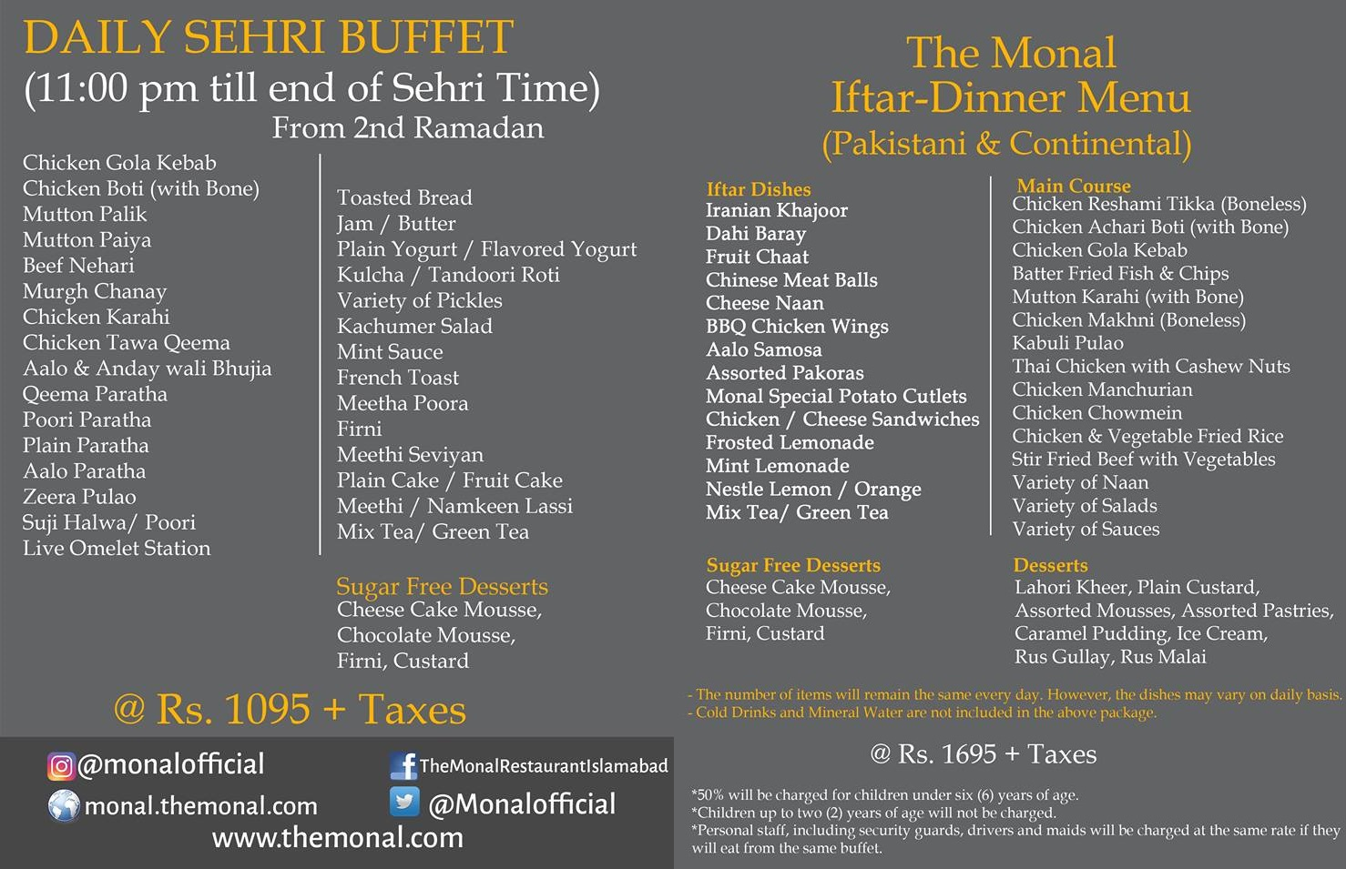 Monal Islamabad Iftar Dinner Buffet @ Rs 1695+ Tax, Sehri @ Rs 1095+