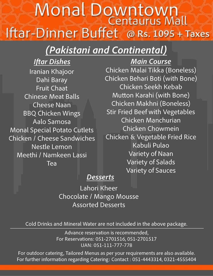Monal Downtown Centaurus Islamabad Iftar Dinner Buffet Menu Deal Whatsonsale