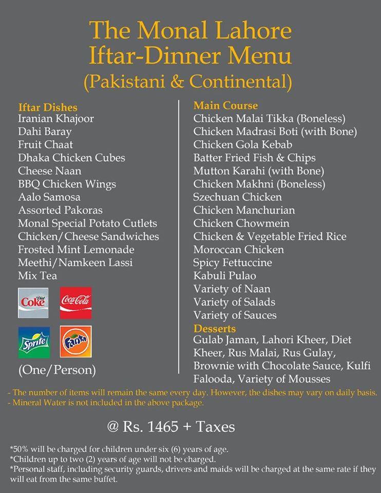 The Monal Lahore Iftar Dinner Buffet Menu Rs 1465