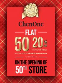 ChenOne FLAT 50% OFF Entire Stock of Garments & Home Textile