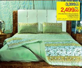 4 Pcs Bed Set (1 King Comforter,1 King Bed Sheet, 2 Pillow Covers) Just Rs.  2499 @ Hyperstar